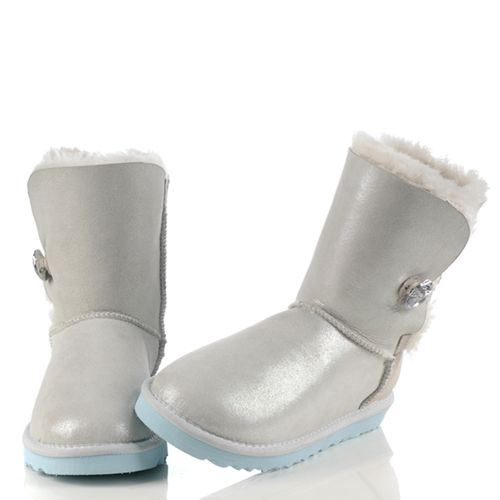 UGG Jeweled Bailey Button I Do 1002174 White/Silver Wedding Boots