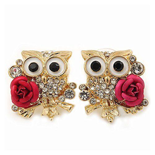 Aus der Kategorie Ohrringe  gibt es, zum Preis von EUR 21,84  'Weise Eulen mit Rosen'-Swarovski-Kristall,, glitzernde Ohrstecker, vergoldet