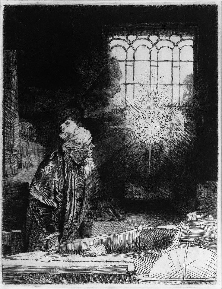 """Rembrandt (1606-1669) Faust Ink on paper/Dry-point, etchin c1652 16 x 21 cm (6.3"""" x 8.27"""") Rijksmuseum (Amsterdam, Netherlands)"""