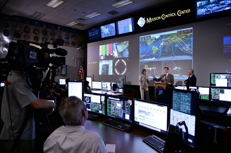 The newly renovated and historic White Flight Control Room will be used to support NASA's Orion spacecraft. The mission patches that adorn the walls reflect the control room's previous use in the Space Shuttle Program.