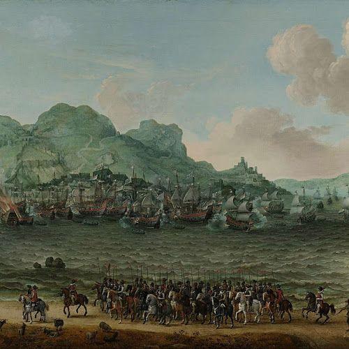 De overwinning op de Spanjaarden bij Gibraltar door een vloot onder bevel van admiraal Jacob van Heemskerck, 25 april 1607, Adam Willaerts, 1617 - Rijksmuseum