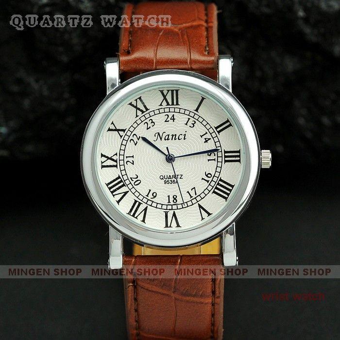 Горячие продажи Серебристый Корпус Мода Римские цифры Циферблат Коричневый Кожаный Ремешок Классический Мужчины Бизнес Случайный Кварцевые часы