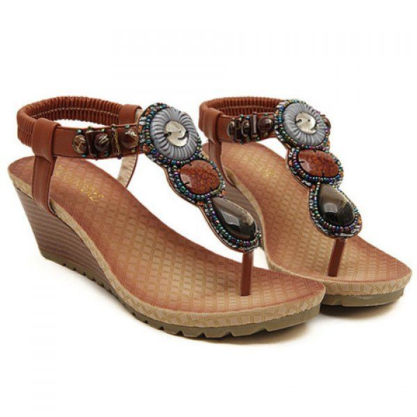 Bohemia Wedge and Beading Design Women's Sandals, BROWN, 39 in Sandals   DressLily.com