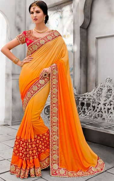 Incredible Orange Wedding Saree