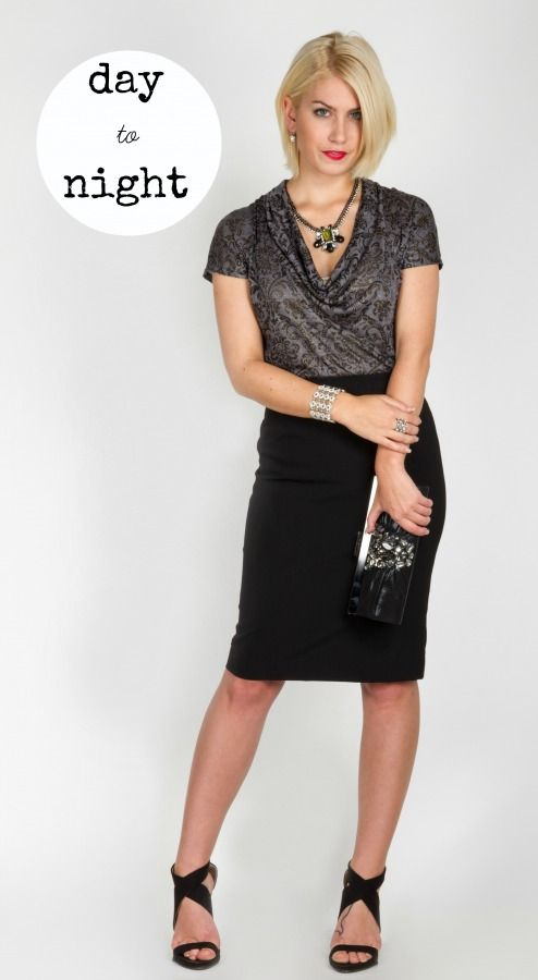 Glitzy accessories and a sky high heel take the Tobias black pencil skirt out of the work-wear world.