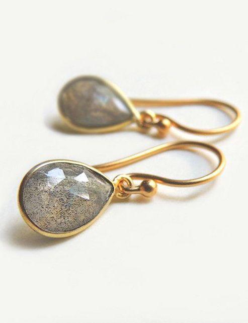 Gold Labradorite Teardrop Earrings Fall Fashio