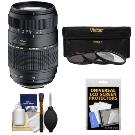 Buy Tamron 70-300mm f/4-5.6 Di LD Macro 1:2 Zoom Lens with 3 UV/CPL/ND8 Filters + Accessory Kit for Sony Alpha DSLR SLT-A37, A57, A58, A65, A77, A99 Digital SLR Cameras at Walmart.com
