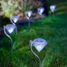 4pcs/lot Diamond Stainless steel Solar lawn light for garden decorative solar power LED