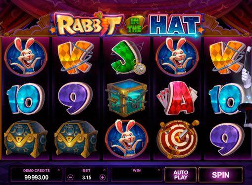 Zagraj na automat do gier Rabbit in the Hat dla pieniędzy. Microgaming upodobało wszystkich fanów magicznych sztuczek i nową ekscytującą maszyna hazardu online z własnych reguł. Maszyna hazardu Rabbit in the Hat na prawdziwe pieniądze daje wspaniałą animację, i da szansę wygrać duże.   Magiczny kapelusz maszyna hazardu w Internecie Rabbit in the Hat W