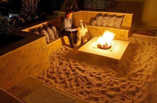 Backyard beach fire pit with built-in seating