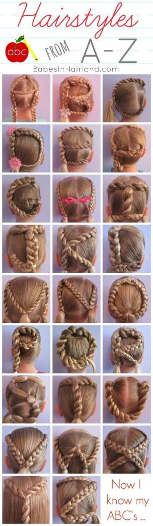Hairstyles from A-Z from BabesInHairland.com - perfect if you have younger girls & want to make learning the ABC's even more fun!