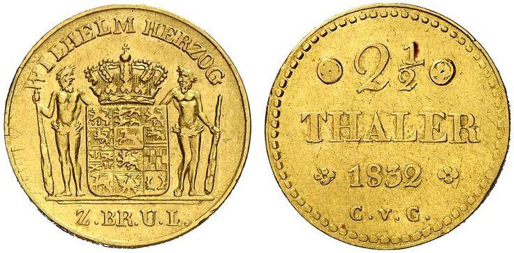 2,5 Taler. Germany Coin, Brunswick-Wolfenbuttel, Wilhelm 1831-1884. 1832 CvC, Brunswick mint. 3,27g. F 747. VF. Price realized 2011: 650 USD.