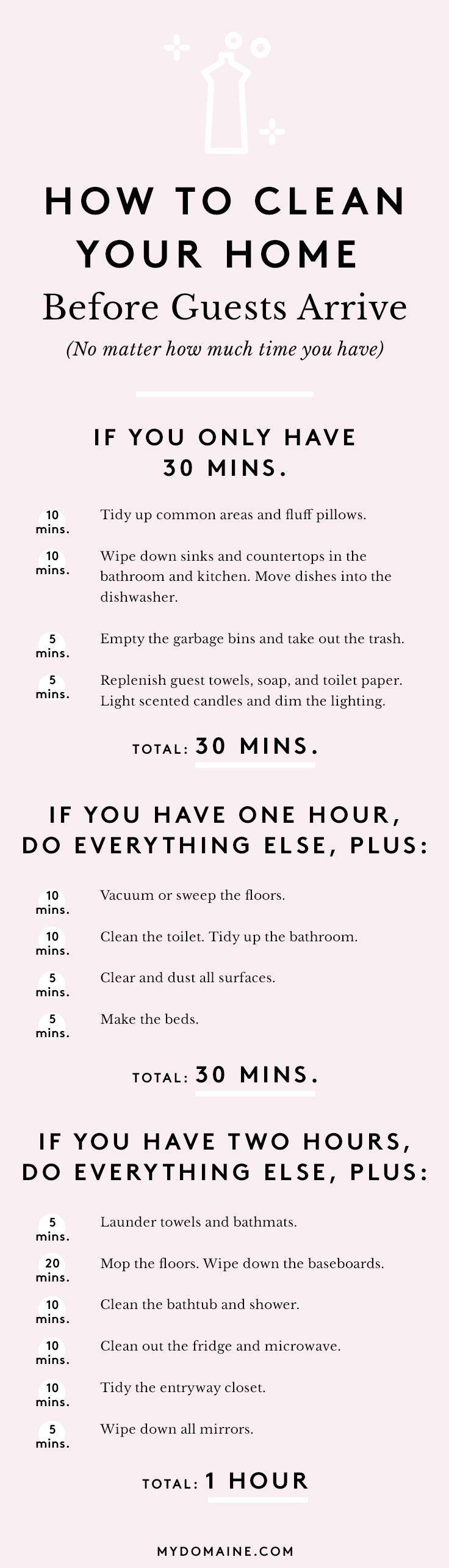 How to Clean Your Entire Home in Under 2 Hours via @MyDomaine