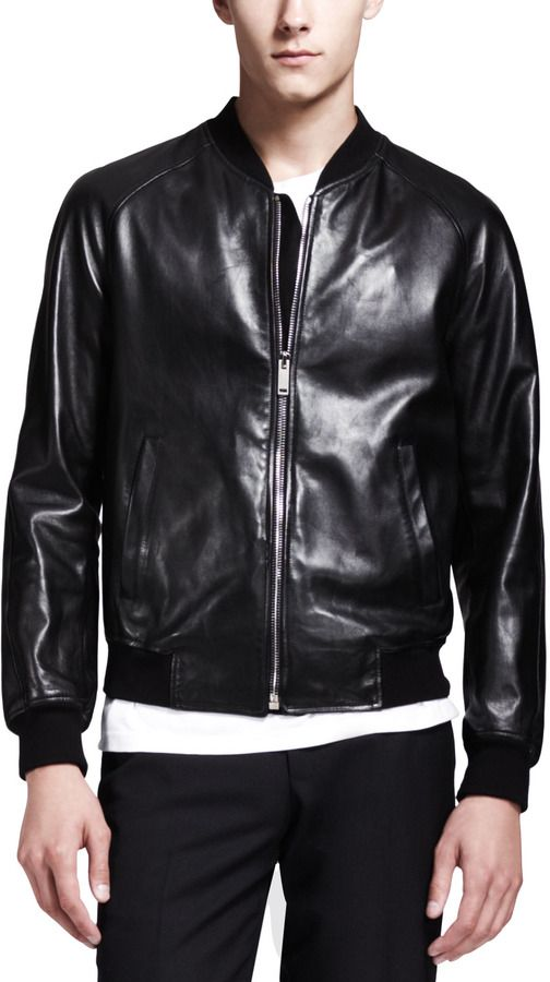 $4,775, Leather Bomber Jacket: Alexander McQueen Skull Embossed Leather Bomber Jacket Black. Sold by Neiman Marcus. Click for more info: https://lookastic.com/men/shop_items/14534/redirect