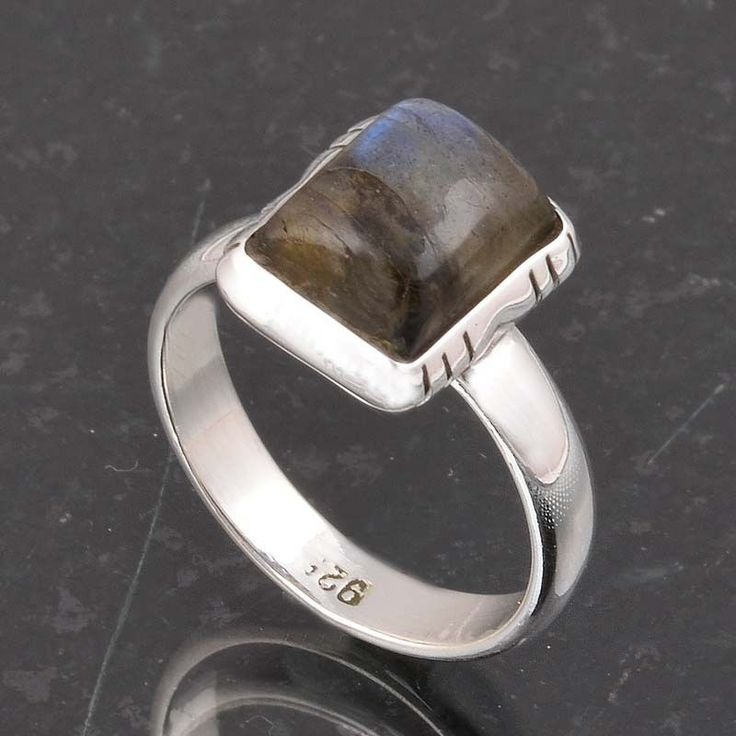 BLUE FIRE LABRADORITE 925 SOLID STERLING SILVER FASHION RING 3.83g DJR6378 #Handmade #Ring