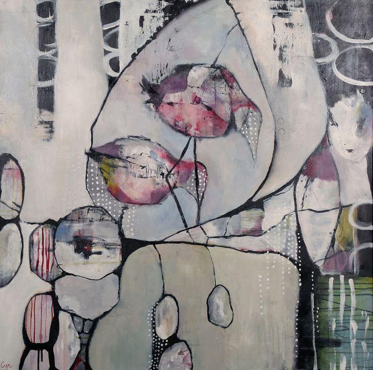 Silent awakening. 100x100cm. Acryl op canvas
