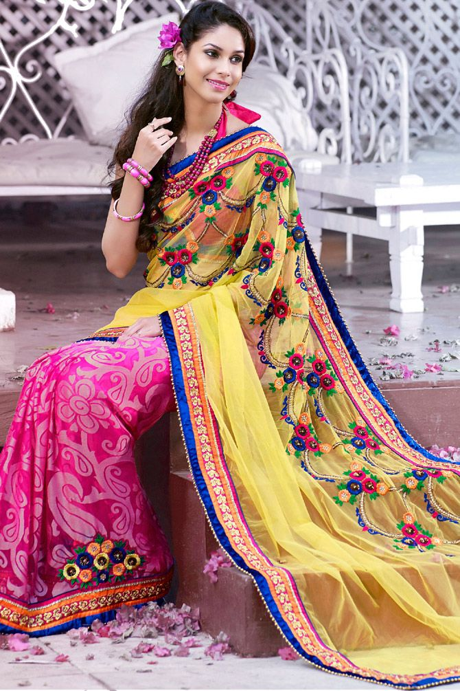 Saree #Fashion - Beautiful Designer Brasso #Saree In Pink For Party | @ $103.66