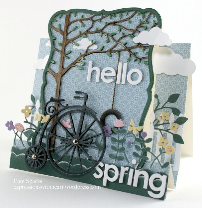 Card by Pam Sparks  (031712)  [Memory Box Lavish Branch, Orchard Tree Frame, Puffy Clouds, Set of Swings, Summer Border, Vintage Bicycle  and  Poppy Stamps  Picket Fence]