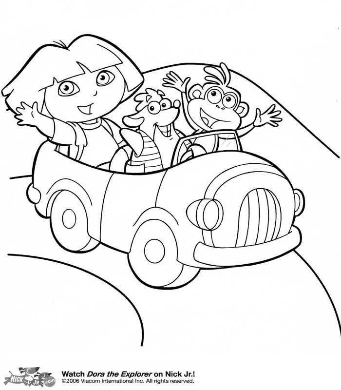 Dora en voiture - coloriage dora