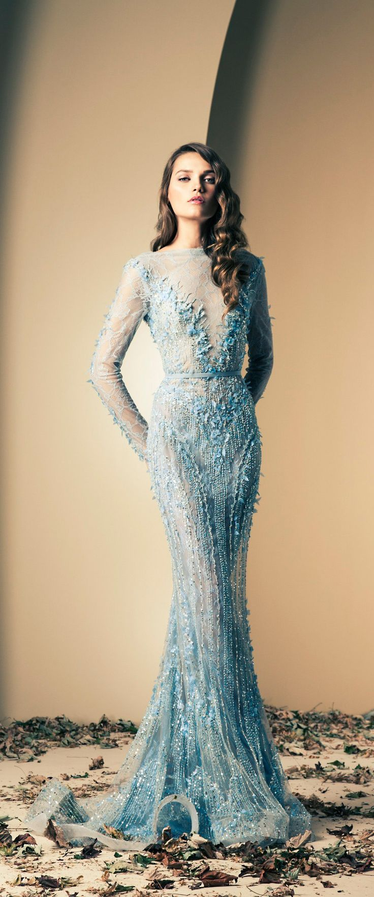 Ziad nakad ice blue embellished wedding gown wedding for Ice blue wedding dress