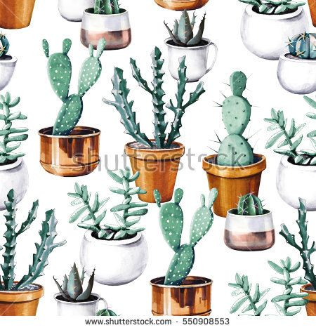 Watercolor cactus in pot tropical garden seamless pattern. Watercolour succulent pattern on white background.