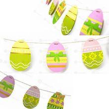 10ft 16 Яйца Бумаги Гирлянды Пасхальное Яйцо, Пасха Бантинг Баннер DIY Пасхальные Яйца Пасхальные Ремесла(China (Mainland))