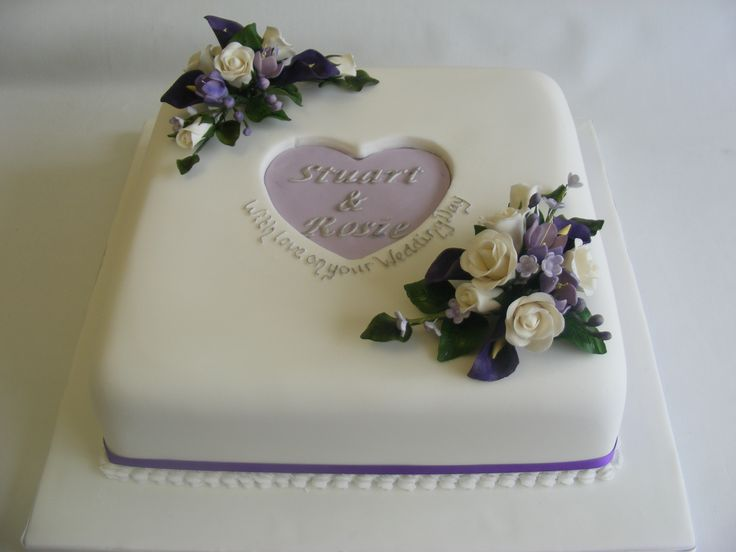 Purple And White Square Cake One Tier