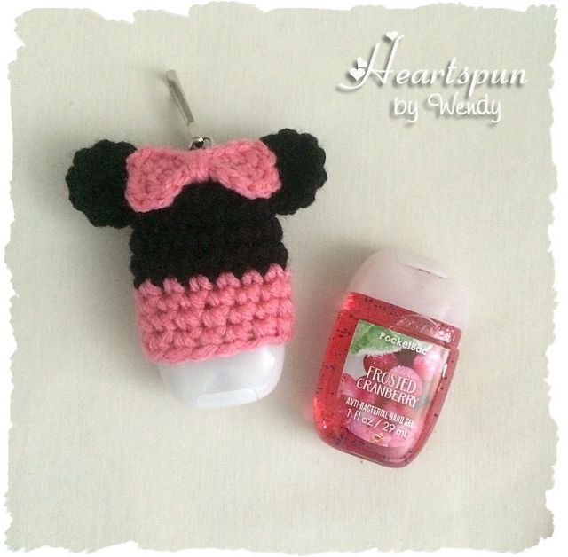 Mickey And Minnie Mouse Hand Sanitizer Holders Pattern By Wendy