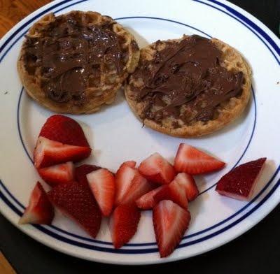 Waffles, Nutella & fresh strawberries--mmm yes please!