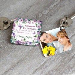 - Anneye Özel Fotoğraf Ve Mesajlı Anahtarlık