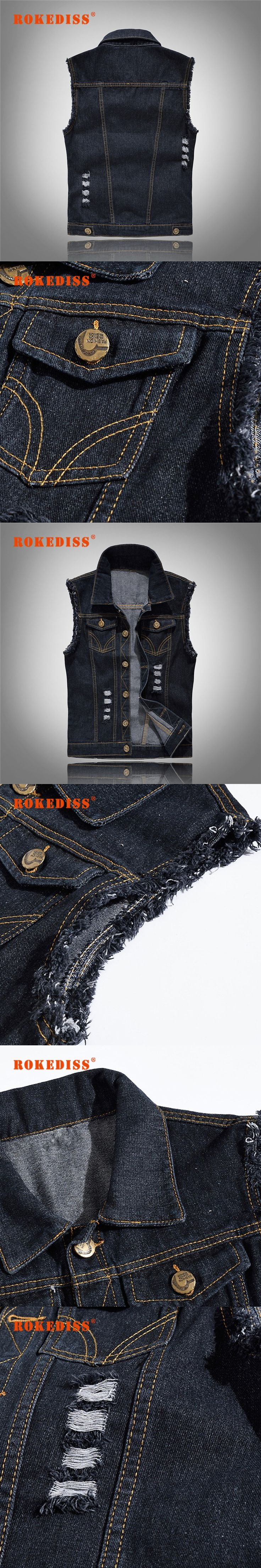 Vintage Design Men's Denim Vest Male Black Color Slim Fit Sleeveless Jackets Men Hole Jeans Brand Waistcoat  S-6XL G292