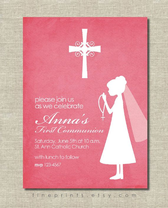 first communion invitation - pink with silhouette on Etsy, $15.00