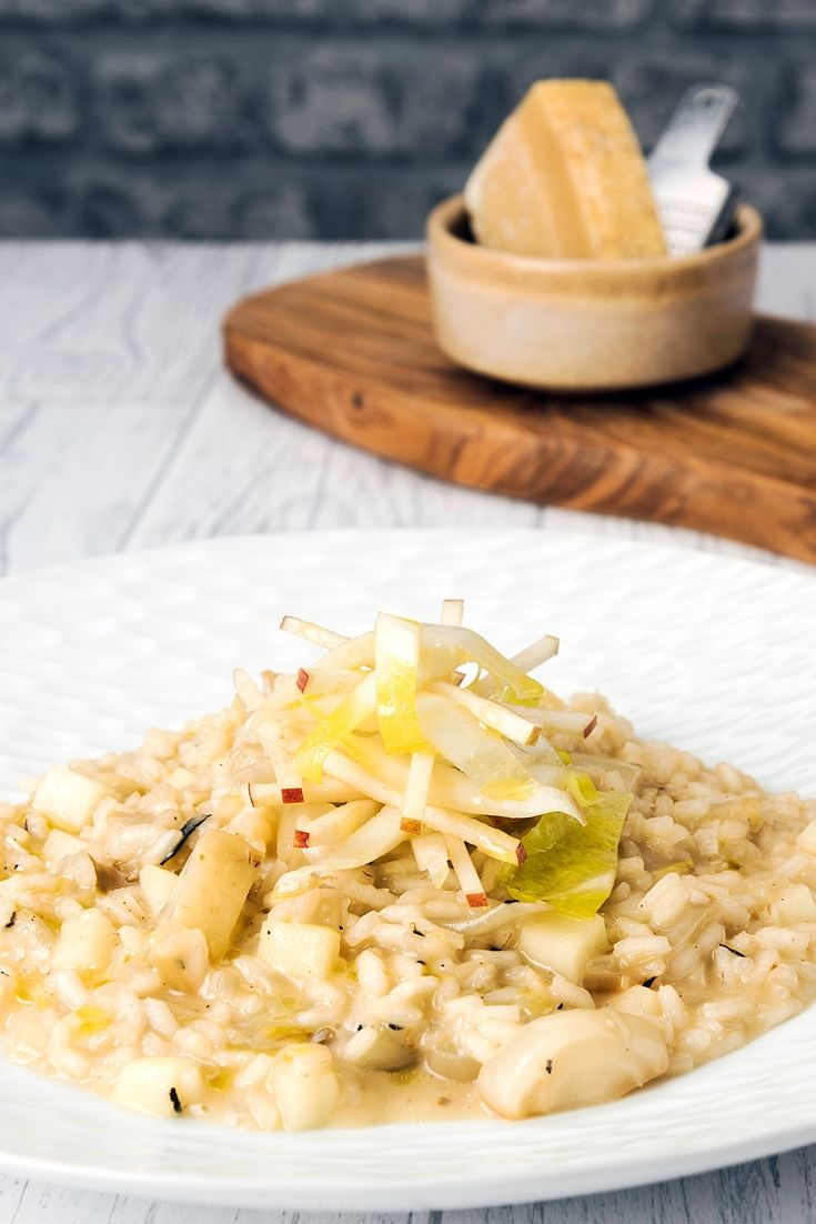 This stunning apple and chicory risotto recipe is infused with lovely caramelised chicory and plenty of Parmesan for a super-autumnal flavour.