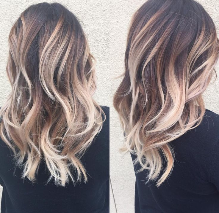 Toffee almond cream • stunning balayage with caramel tones and warm ash with platinum blonde accents.