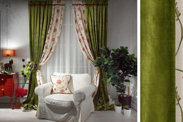 Фисташковые бархатные шторы в интерьере с подхватами и окантовкой фото