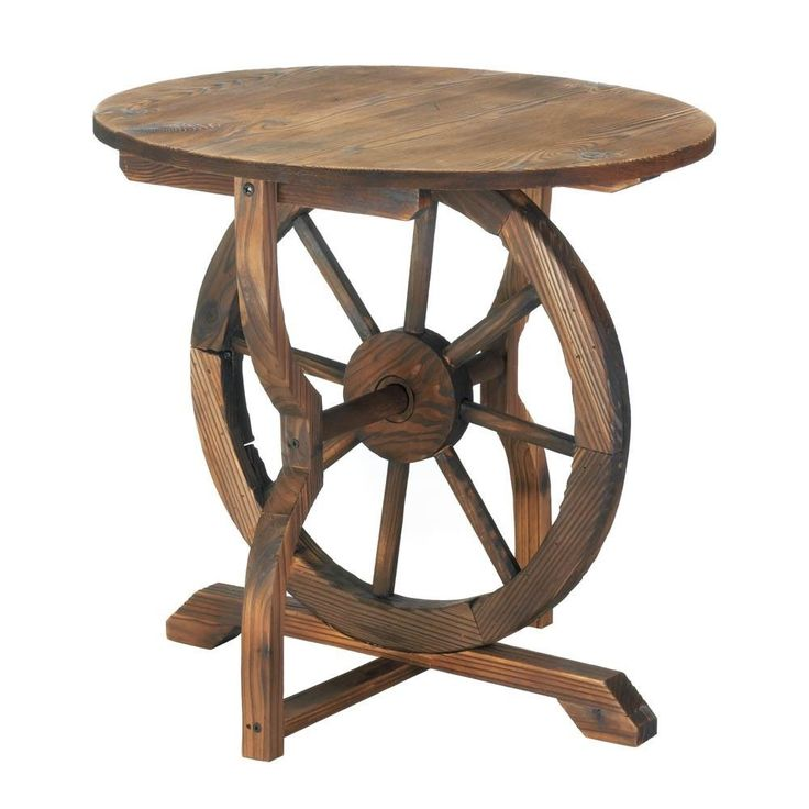 Details About Wagon Wheel Table Garden Yard Furniture Decor Patio Wood Backyard Accent Home