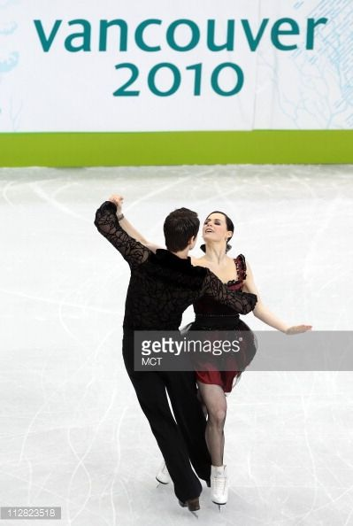 Tessa Virtue and Scott Moir of Canada skate in the compulsory dance on Friday, February 19, 2010, during the 2010 Winter Olympics in Vancouver, British Columbia. (Photo by George Bridges/MCT/MCT via Getty Images)