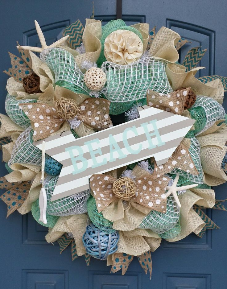 Beach/Summer deco mesh wreath by WonderfulWreathsKim on Etsy