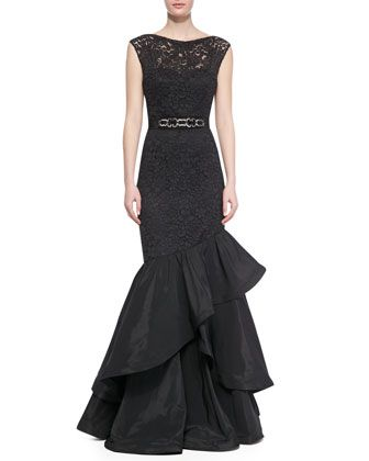 Lace Gown with Tiered Flamenco Skirt, Black by Rickie Freeman for Teri Jon at Neiman Marcus.