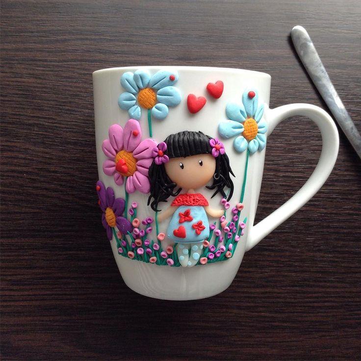 """36 Likes, 11 Comments - Mariya Nedyak (@mariya_nedyak) on Instagram: """"Продолжаю серию весенних чашек. Пока еще в наличии по 150 грн. #подарок #полимернаяглина…"""""""