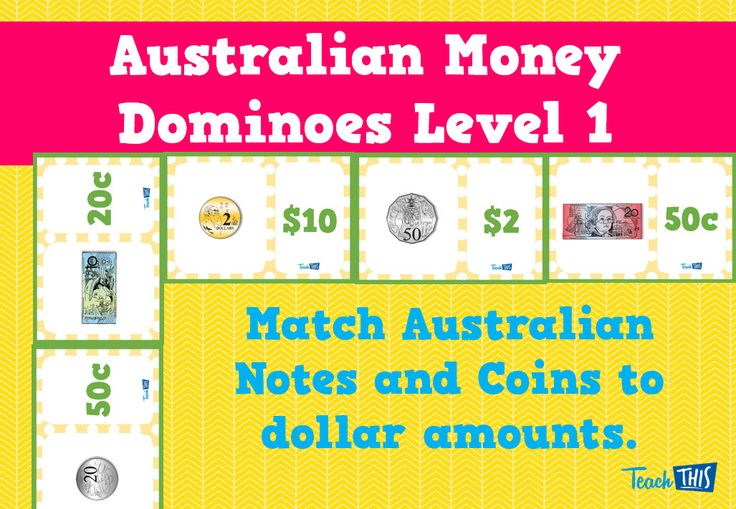 Australian Money Dominoes Level 1 - designed for Year 1 to consolidate Australian notes and coins. Students will match written values to the notes and coins.
