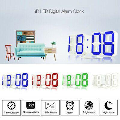 Modern Digital 3d White Led Wall Clock Alarm Clock Snooze 12 24