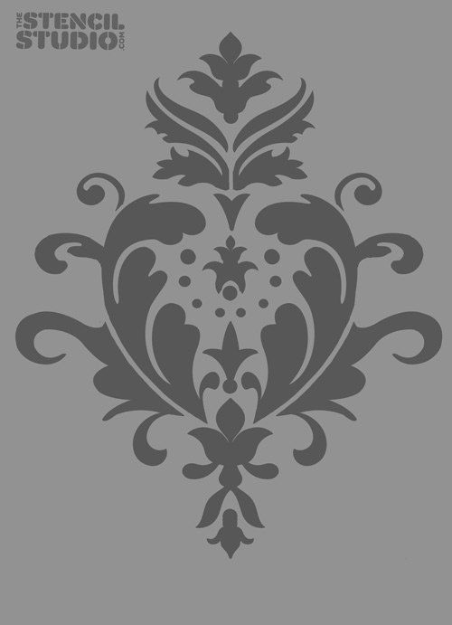 Damask stencil, reusable wall stencil, Acanthus Damask Size  L/A2 14.5 x 18 inches. £22.80, via Etsy.