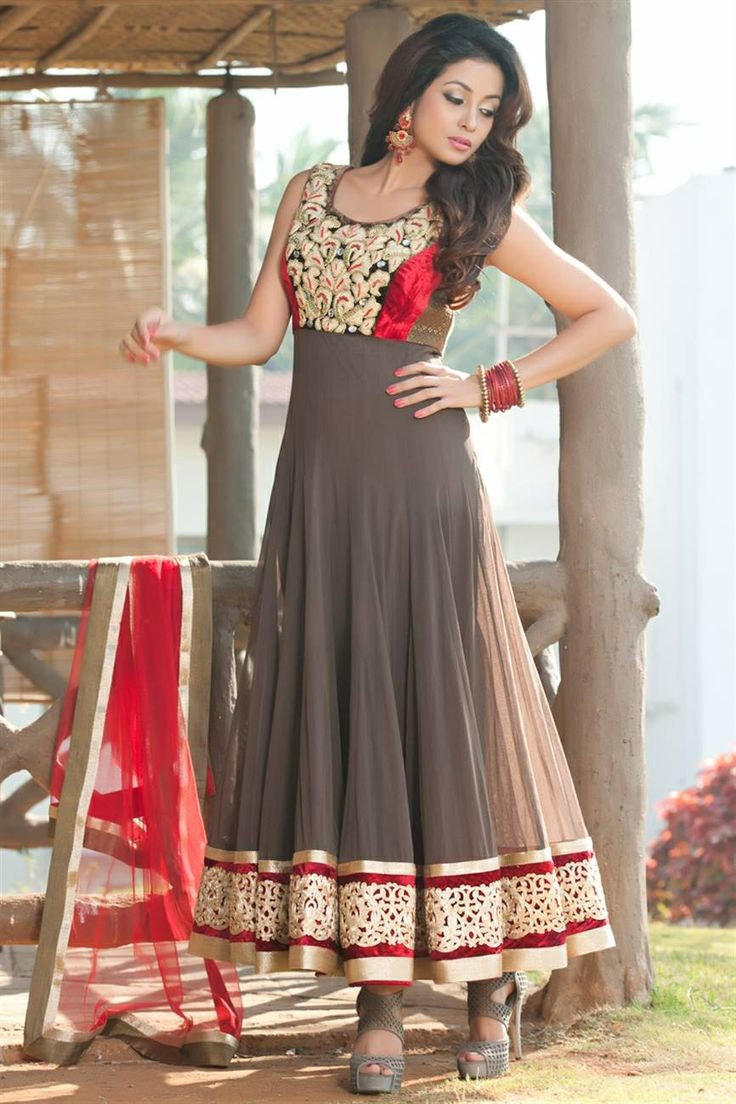 red and grey anarkali