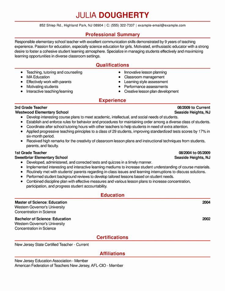 Resume Headline Examples For Teacher