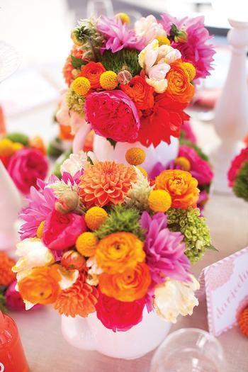 For Angela: Color Bouquets, Floral Design, Events Idea Decoration, Bold Color, Pretty Color, Floral Bouquets, Weddings Party Idea, Orange Centerpieces, Bouquets Pink