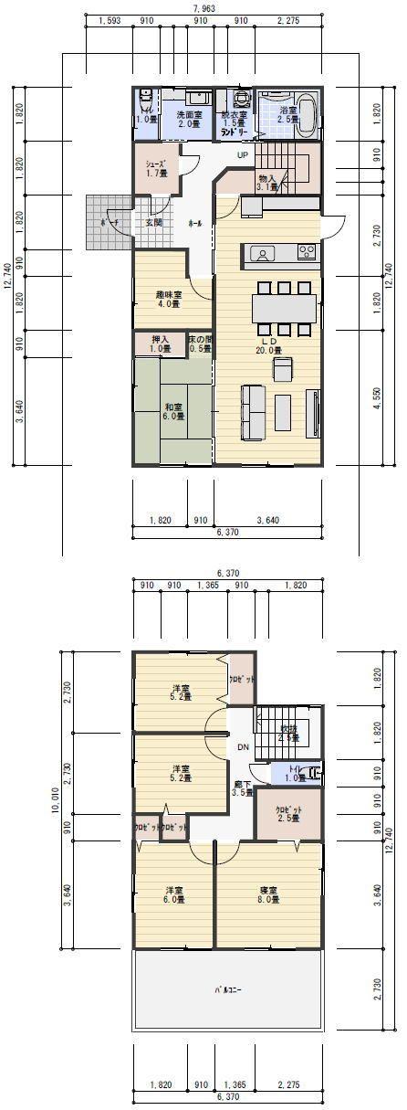 42坪6LDKの二世帯住宅の間取り | 理想の間取り