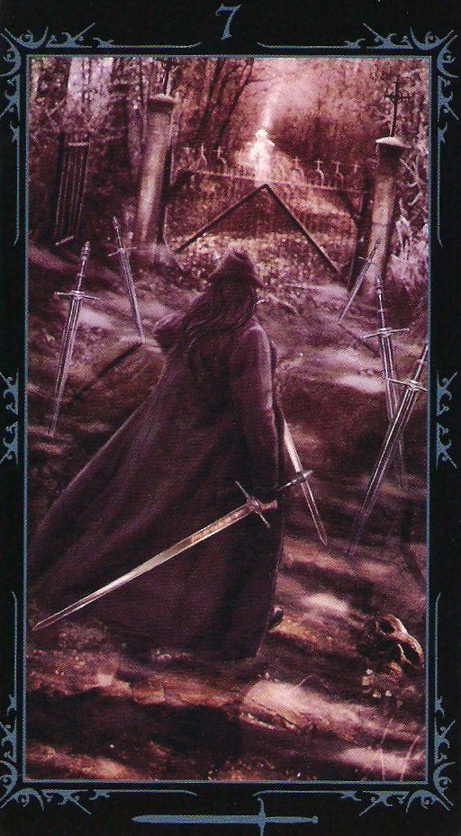 #DarkFaerytale #Tarot #7 #Swords #Diplomacy #Deceit  The path we walk for ourselves, is always different to another's pathway, and though we may join another, at some point we are bound to part.  There is no point at this time in using swords to fight, it may be a time to stand your ground and not follow those who are blind to things or who are lost on their way. Make your own path by being individual.   #CoyotesRealm  #Readings #Tarot #Reiki #Courses #makeyourowntarotcards