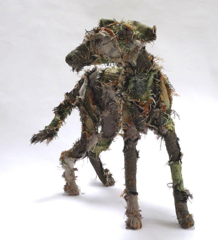 Shaggy Dog Tale textile sculpture by Barbara Franc