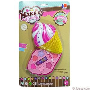 ICE CREAM CONE MAKEUP SETS. With eye shadow, lipstick and a double-tipped applicator, these big makeup kits will delight any junior fashionista. For ages 5 years and up. Each blister carded.  Size 5.5 X 3.5 Inches, packaging 12 X 7.5 Inches
